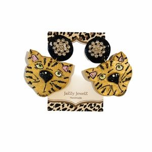 Tiger Frenzy Tiger Face Earring Dangles with Posts